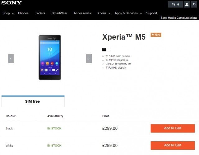 Sony Xperia M5 arriving at Sony Mobile Store in Europe
