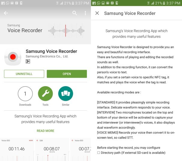 Samsung's voice recording app for Galaxy S7 is available on Play