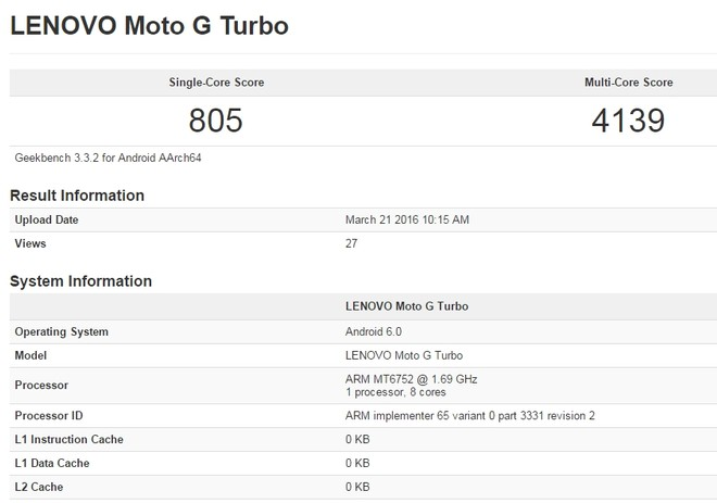 Moto G Turbo 2016 edition with MT6752 processor spotted at