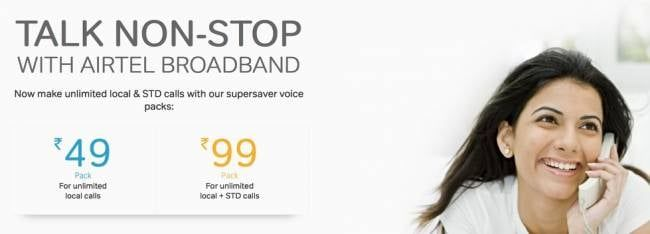 Airtel Landline Offers - Unlimited STD & Local Calls Plans @ Rs.99 per month!