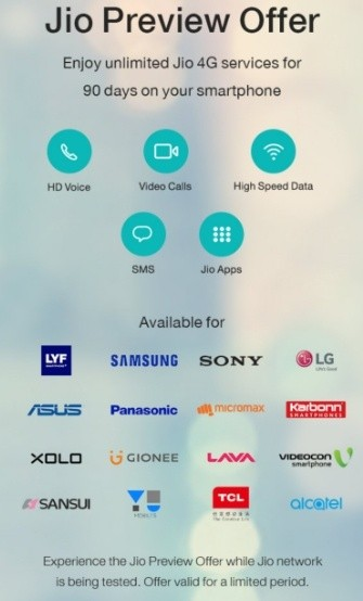 Jio Preview Offer Now For Sony, Videocon, Sansui Smartphones