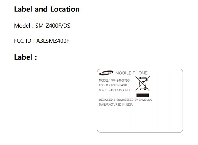 Samsung Z4 (SM-Z400F) with Tizen OS spotted on FCC