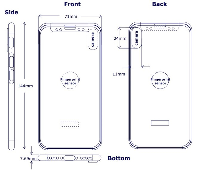 Diagram Shows Touch Id On The Back Of Iphone 8 Analysts Believe