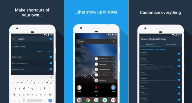Get Nougat app shortcuts on any device with Sesame Shortcuts app