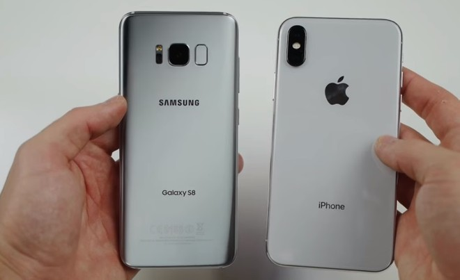 huge selection of a1d10 7b34e iPhone X vs Galaxy S8 drop test, water freeze test, and fire test ...