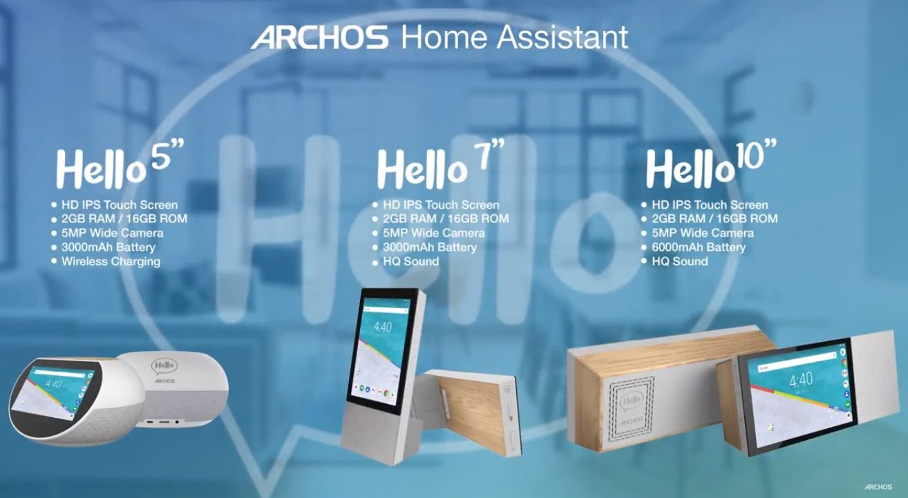 Archos Hello 5, 7, and 10 are smart displays but with full Android OS