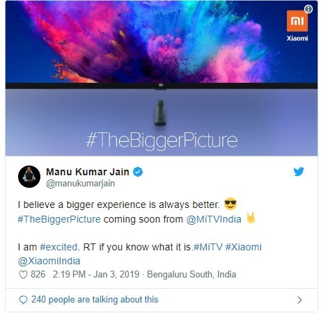 Xiaomi head in India teases 65-inch Mi LED TV for Indian market